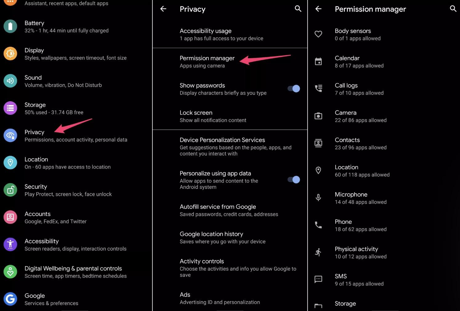 android 10 gizlilik ayarları